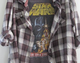 Star Wars t shirt with Brown Plaid Flannel Retro Vintage  80's 90's Style Comfortable
