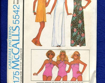 1970's McCall's 5542 Sarong Style Beach Cover Up Dress & One Piece Swimsuit Size 14 UNCUT
