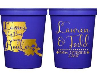 Louisiana Wedding, New Orleans Wedding, Mardi Gras Party, Mardi Gras Favor, Mardi Gras Cup, Wedding Favor, Stadium Cup, Plastic Party Cups