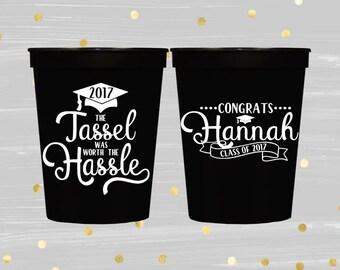 Graduation Cups, Class of 2017, Congrats Grad, Graduation Party Decorations, High School Graduation, College Graduation, Personalized Cup