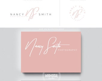 siganture logo branding 1 initials businesscards  simple modern feminine branding- logo Identity for artist makeup and wedding photographer
