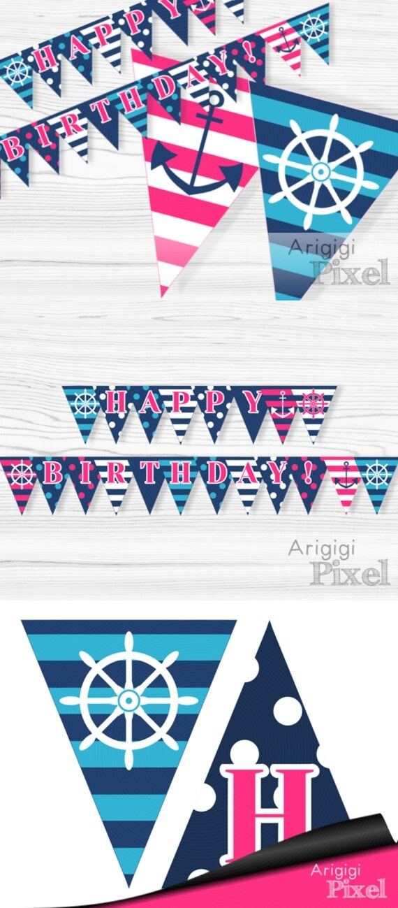 Instant Download Pink Nautical Garland - Happy Birthday - PDF file