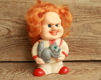 Collectible toy ... Vintage toy ... Rubber Toy ... USSR ... known Soviet trainer cats Kuklachev ... Soviet Union ...