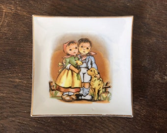 Vintage Hummel Style Plate Decorative Miniature Dish Boy and Girl & Dog Key Ring Holder Jewelry Tray Wall Art Decor 1970s Collectible Kids