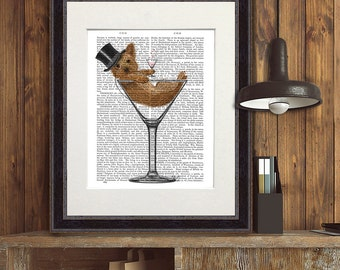 Yorkie gift - Yorkshire Terrier in Martini Glass - funny yorkie dog funny home decor funny fabfunky print wall art uk seller only uk shop