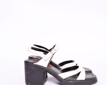 Vintage 90's Black and White ESPRIT Slingback Chunky Heel Sandals