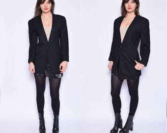 Vintage 80's Black Wool Jacket / Black Wool One Button Jacket / Black Classic Jacket - Size Extra Small
