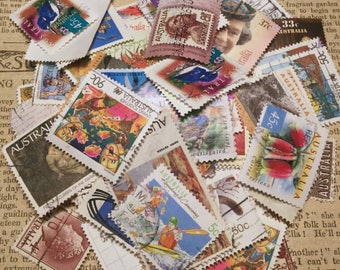 Vintage Postage Stamps from Australia . 50 Old Stamps for Scrapbooking . Re-purpose for Art Projects