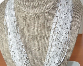 Trellis Scarf Necklace in White with Silver Metallic  (SKU 113)