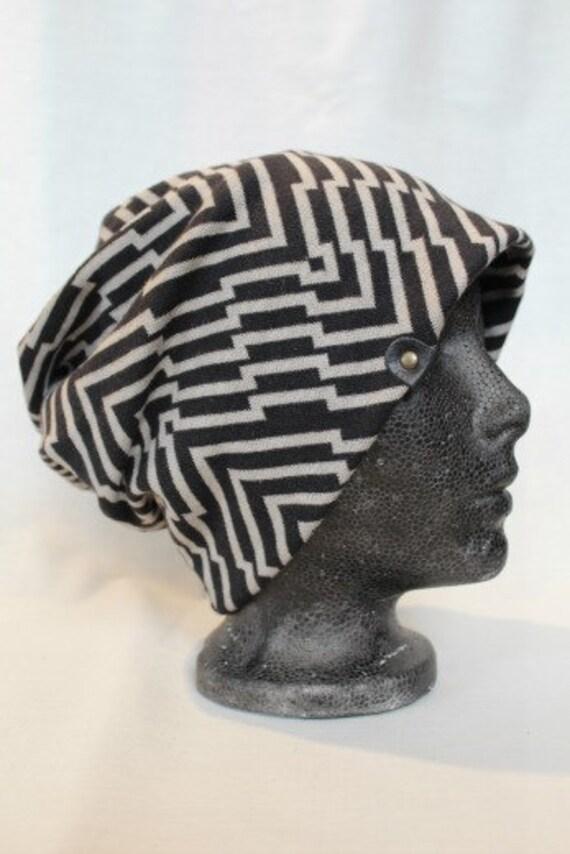 NYTVA - diagonal print hat - black and white