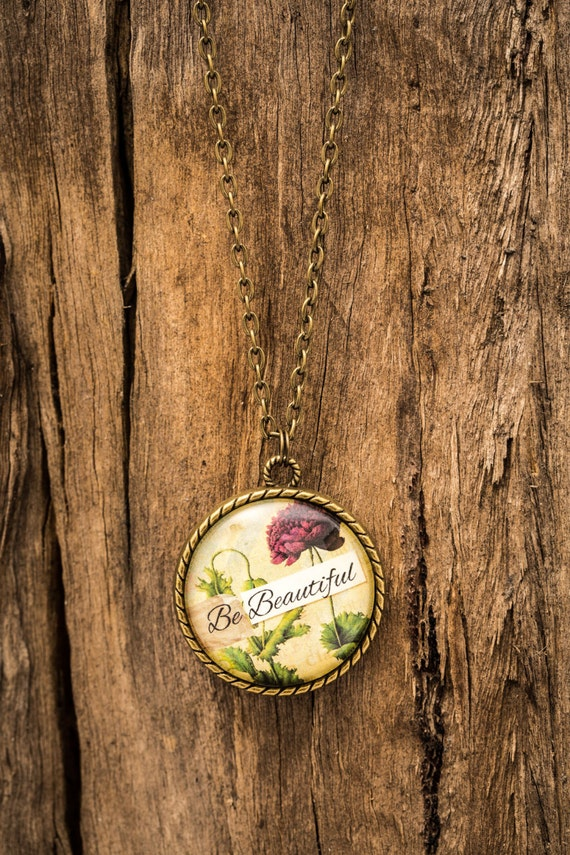 FREE SHIPPING - **NEW** Be Beautiful 30mm Bronze Lace Necklace - Unique - Vintage - Gorgeous Gift - Love