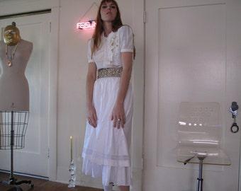 70's White Cotton Double Layer Skirt sz Sm