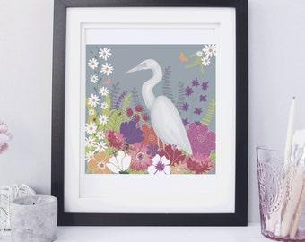 Children's Room Wall Art, Children's Room Decor, Baby Room Decor, Sea Print, Sea Bird Print, Egret Wall Art, Ocean Bird Art