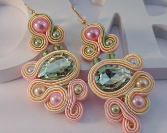Statement Earrings, Christmas Gift for Her, Long Dangle Earrings, Soutache Earrings, Elegant Unique Handmade Earrings, Pastel Lovely Jewelry