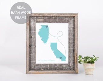 Framed Custom Long Distance Love Print, 5x7, 8x10, 11x14, State to State Print, Miss You Map, Two State Map Print, I Love You Gift