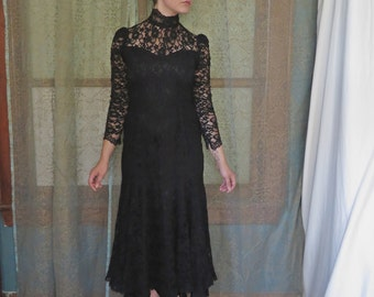 1980s Black Lace Maxi Dress Witch Lace Dress High Collar Open Back Vintage Sheer Lace Gown Victorian Goth Lace Dress Penny Dreadful