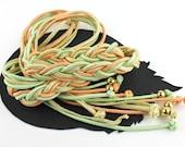 Peach Mint Green Cream & Gold Braided Rope Vintage Belt