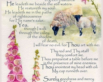 Psalm 23 The Lord is my Shepherd mounted watercolour print