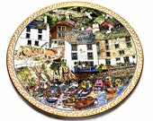 Polperro, Royal Worcester, Sue Scullard Plate, Villages Series, Cornwall England, English Village, Cornish Harbour, Collectable Plate