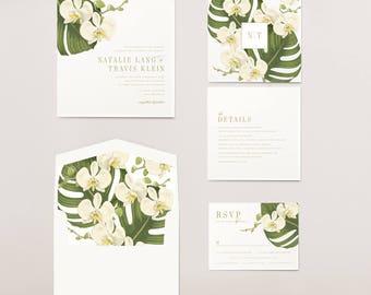 Tropical Floral Wedding Invitation | PHALAENOPSIS ORCHID | White Orchid  Flowers | Palm Leaf Wedding Invitations