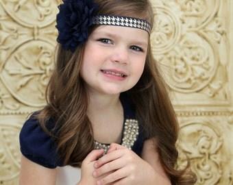 Navy Blue Flower Headband, Navy Blue Headband, Navy Blue Flower Clip, Navy Blue Hair Clip, Blue Headband, Navy Flower Girl Headband