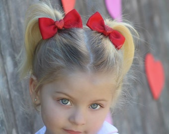 Heart Pigtail Bows, Valentine's Day Pigtail Bows, Red Heart Bows, Red Hair Bows, Red Heart Bows, Red Bow Hair Clips, Valentine's Day Bows