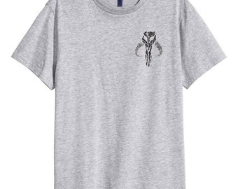 Mandalorian Skull Logo Boba Fett Grey Lino Cut Tee