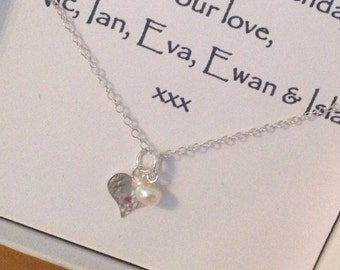 Happy Mother's Day -  A Sterling Silver Hand Stamped Freshwater Pearl & Hammered Heart Necklace