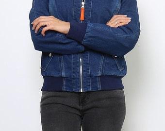 Blue Jeans Bomber Style Jacket.
