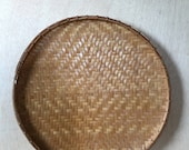 Vintage Hand Woven Round Bamboo Flat Basket Tray Bohemian Boho Style Home Decor