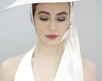 Straw Saucer Hat with Ribbon, Minimalist Wedding Hatinator, Bridal Cream Millinery - Kiki