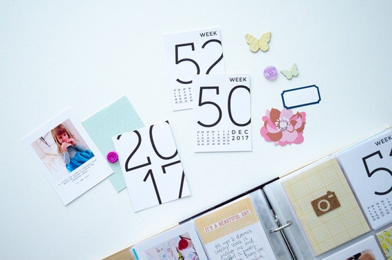 2017 Neat Week Number Cards • Digital • Journaling Card Printable. Perfect for Project Life
