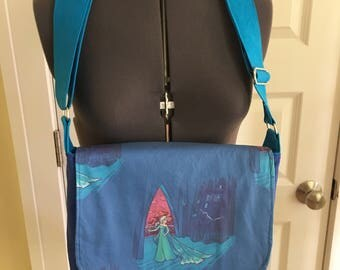 Elsa/TARDIS Dr Who Frozen small messenger bag feat. Karen Hallion artwork
