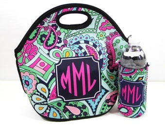 Monogrammed Lunch Tote & Water Bottle Sleeve Insulated Lunch Bag And Water Bottle Insulator Lunch Box Personalized Custom Monogram Lunch Bag