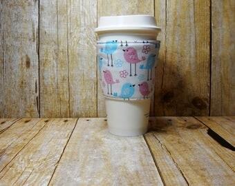 Fabric Coffee Cozy / Bird Dots Coffee Cozy / Coffee Cozy / Tea Cozy