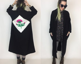 90's Black Wool Trench Jacket Flower Back Patch Long Black Open Cardigan Medium - Long Fuzzy Upcycled Back Patch Trench Jacket Street Wear