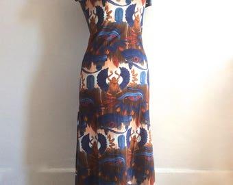 Vintage Jean Paul Gaultier dress scarab 90s Gaultier Jean's knit midi dress beetle Egyptian vtg JPG wiggle bodycon dress wiggle dress