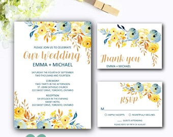 Printable Download Wedding Invitation Suite - Floral Wedding Invitation Set - Wedding Invite Set - Wedding Invitation