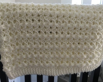 Hand Knit Blanket - White Lushest Lace