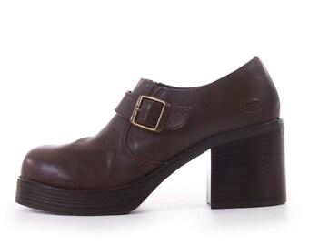 Skechers Platform Shoes Brown Vegan Leather Chunky Shoes Platform Loafers Buckle Shoes 90s Vintage Women's Size US 8 / UK 6 / EUR 38