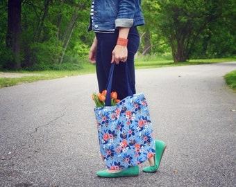 Floral Handbag, Blue Floral Tote Bag, Rifle Paper Co Purse, Large Tote Bag, Blue Carryall Bag, Birch Floral Fabric Diaper Bag, Market Tote