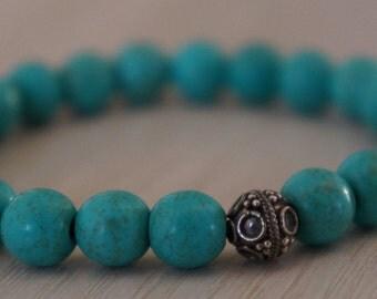 Chalk Turquoise Bracelet /Sterling Silver Bali Bracelet