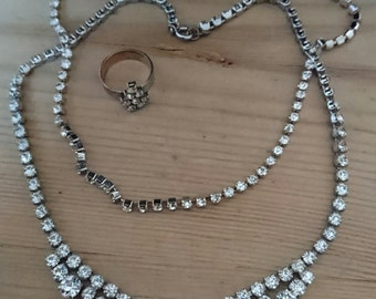 Two vintage rhinestone necklaces and a ring