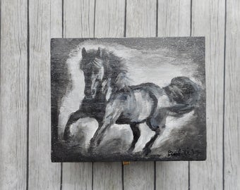 Black white gray horse luxury jewelry box hand-painted wooden gift boxes handmade artwork storage jewelery box trending unique gifts items