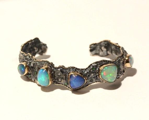 Natural Opal Silver & Gold Cuff Bracelet- Unisex -  Handmade  - Custom Gemstone Jewelry #1460 Watch Video!