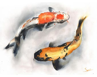 KOI FISH PRINT - koi watercolor, koi art print, koi print, koi painting, fish print, fish wall art, fish decor, fish gift, koi fish painting