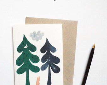 Two Trees & a Bunny blank card | A6