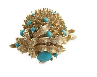 Gold Turquoise brooch Starfish brooch Faux turquoise Emmons brooch Sea urchin pin Vintage turquoise Sea world jewelry Turquoise jewelry