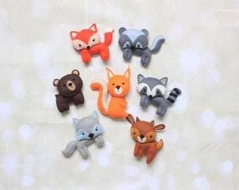 Woodland animals felt ornaments felt animals cake topper animal magnets woodland nursery woodland plush forest animals stuffed animals