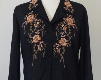 1970's Embroidered Floral Western Button up Shirt